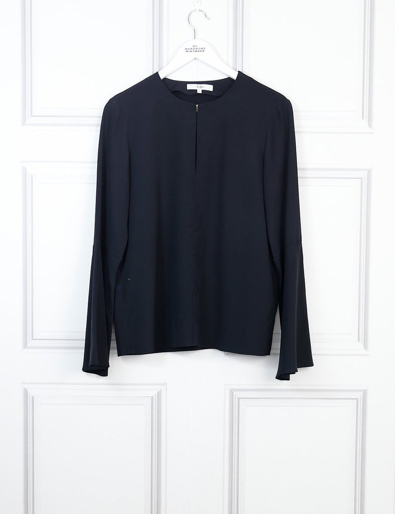 TIBI CLOTHING 8UK-40IT-36FR / Black TIBI Long fluted sleeves blouse