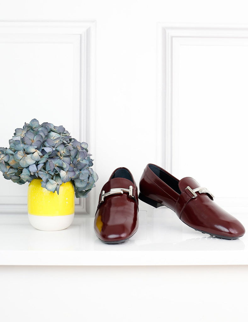 TOD'S SHOES 5UK-38IT-39FR / Burgundy TOD'S  Double-T Patent Leather Loafers