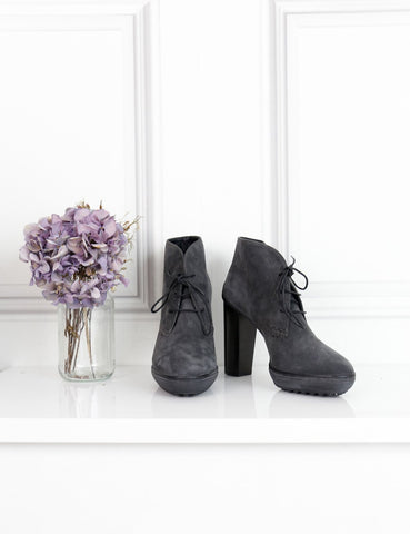 Tod's grey suede leather high-heeled bootie 1Uk- My Wardrobe Mistakes