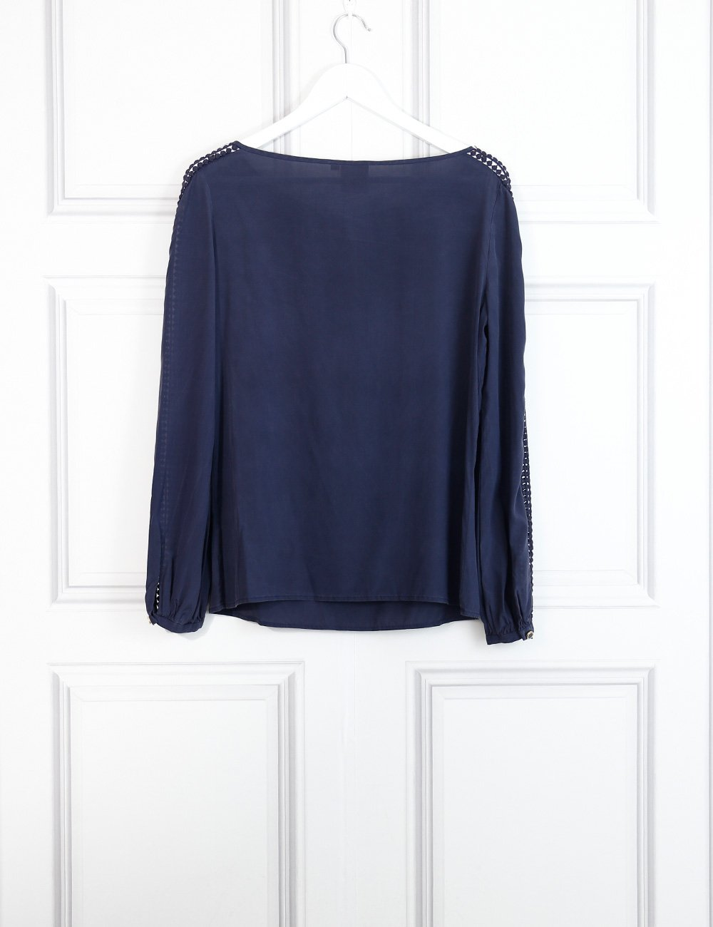 Tory Burch navy blue crochet lace blouse 10 Uk- My Wardrobe Mistakes