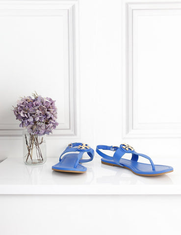 Tory Burch blue Bryce flat thongs sandals 5.5Uk- My Wardrobe Mistakes