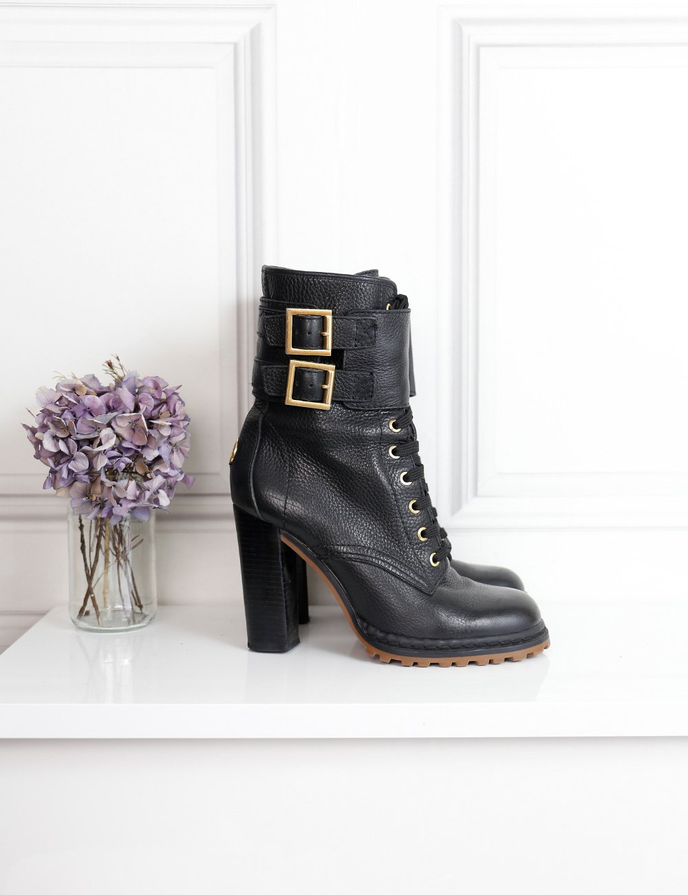 Tory Burch black lace-up boots with chunky heels 6.5Uk- My Wardrobe Mistakes