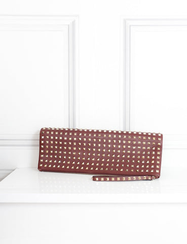 Valentino Burgundy large rockstud fold over clutch- My Wardrobe Mistakes