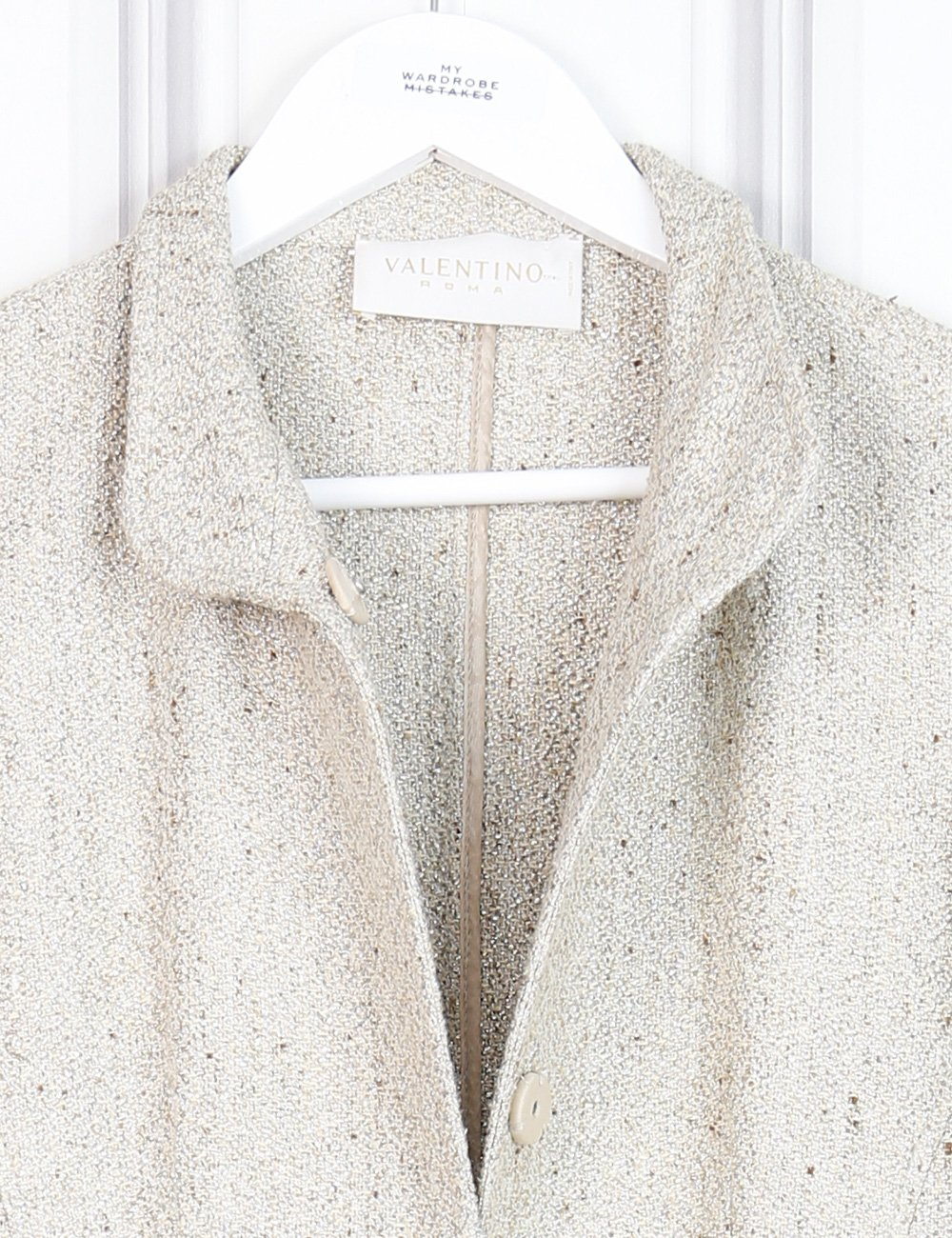 Valentino gold mid-length shimmery coat 12 UK- My Wardrobe Mistakes