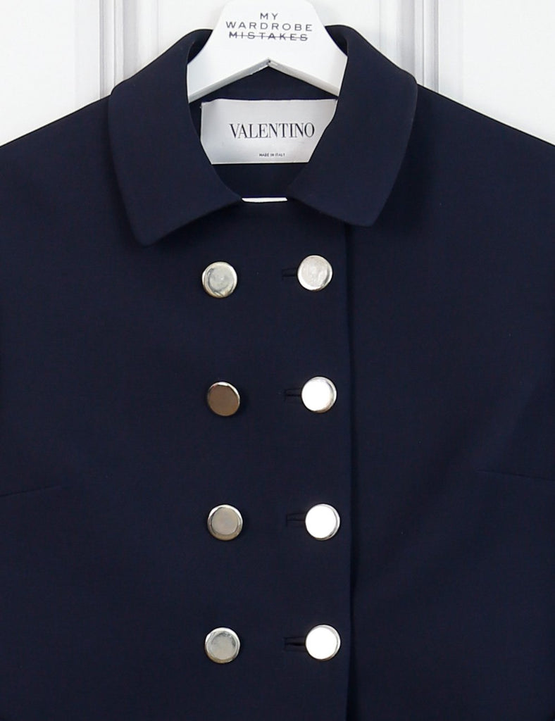 Valentino blue military style coat 8Uk