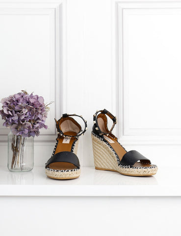 Valentino Garavani black rockstud espadrille wedges 5UK- My Wardrobe Mistakes