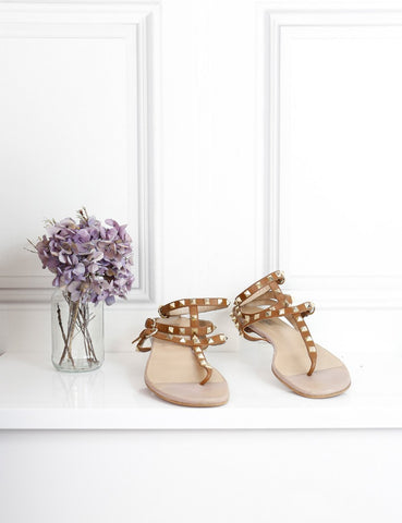 Valentino brown rockstud gladiator leather sandals 7Uk- My Wardrobe Mistakes