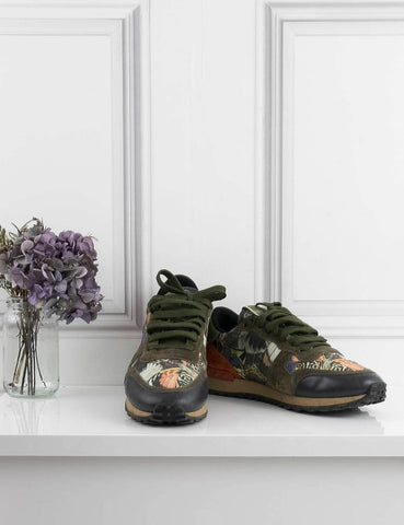 VALENTINO SHOES Rockstud camo-butterfly sneakers