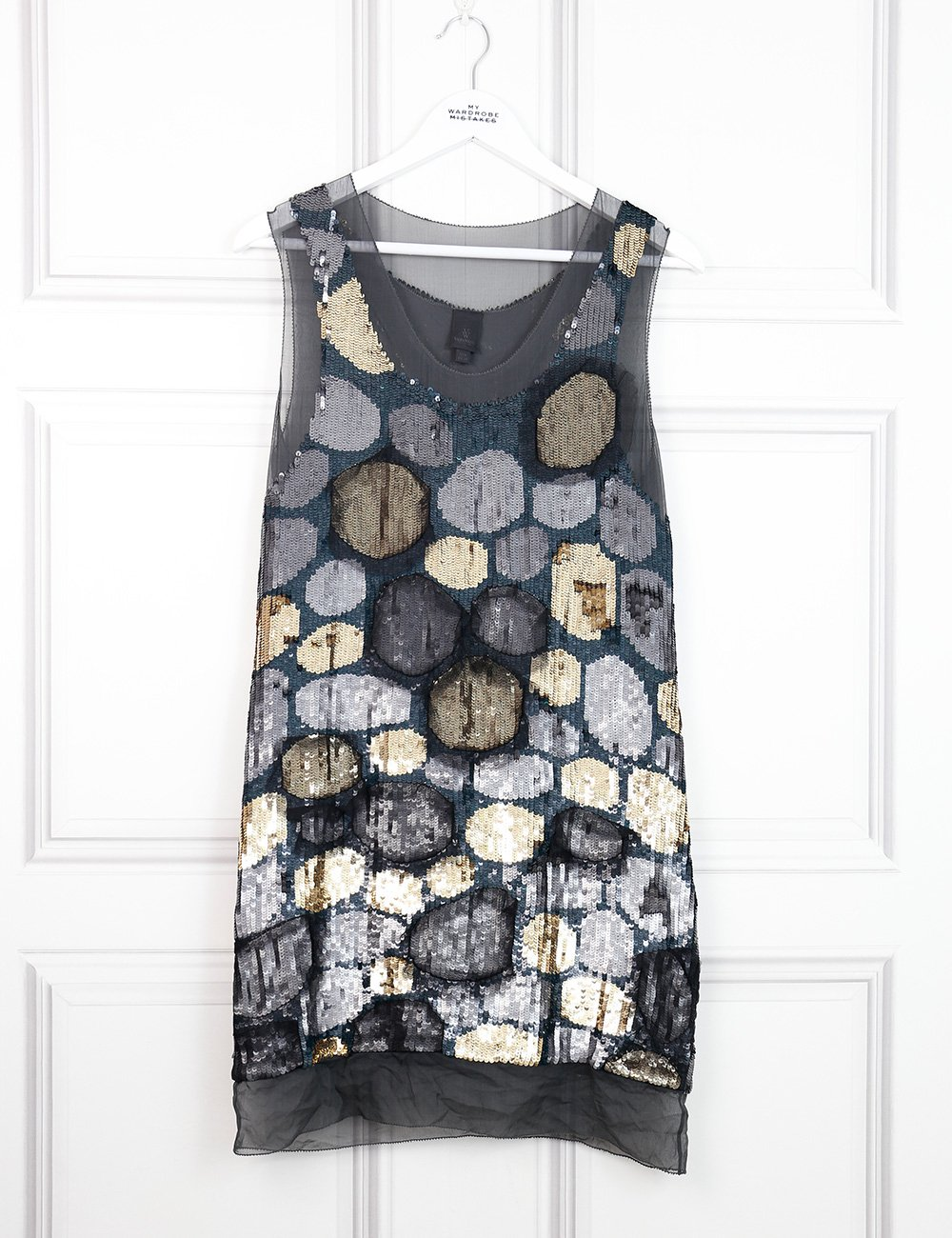 Vera Wang multicolour sleeveless sequinned dress 8UK- My Wardrobe Mistakes