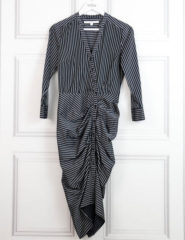 Veronica Beard blue striped long sleeves pleated dress 6UK- My Wardrobe Mistakes