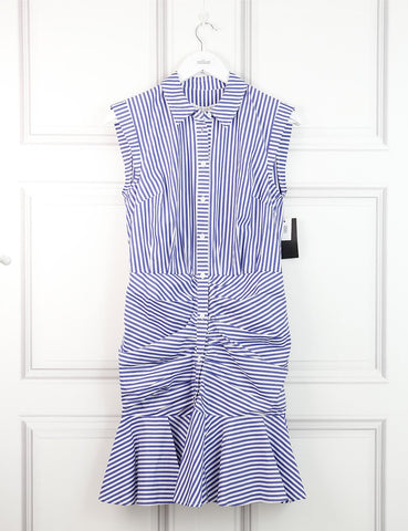 Veronica Beard blue striped sleeveless pleated dress 8UK- My Wardrobe Mistakes