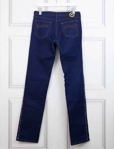 VERSACE CLOTHING 12UK-44IT-40FR / Blue VERSACE SIGNATURE JEANS Crystal-embellished slim Jeans