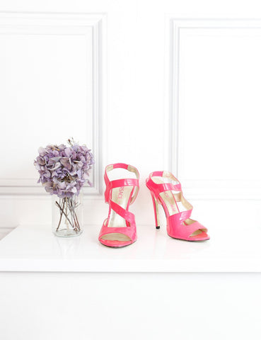 Versace x H&M pink neon patent sandals 4 Uk- My Wardrobe Mistakes