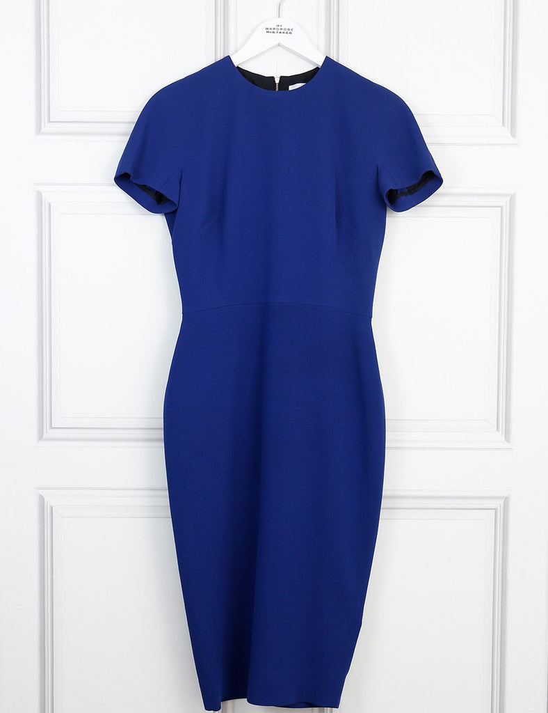 Victoria Beckham blue fitted midi dress 12 Uk- My Wardrobe Mistakes