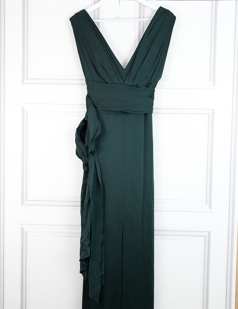 Victoria Beckham green draped satin gown 10UK- My Wardrobe Mistakes