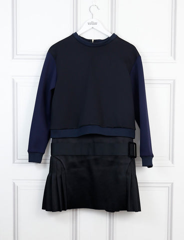 Victoria Victoria Beckham black and blue sweatshirt with pleated skirt dress 10 Uk- My Wardrobe Mistakes