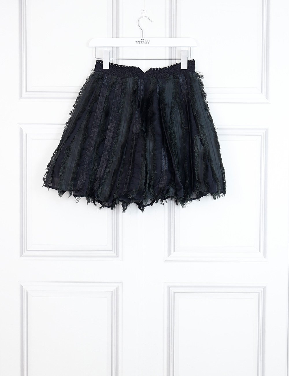 Viktor and Rolph black feathers mini skirt 8Uk- My Wardrobe Mistakes