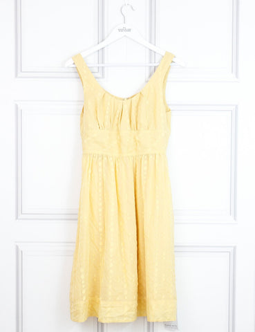 Vince yellow sleeveless dress with applique polka dots 10 Uk- My Wardrobe Mistakes