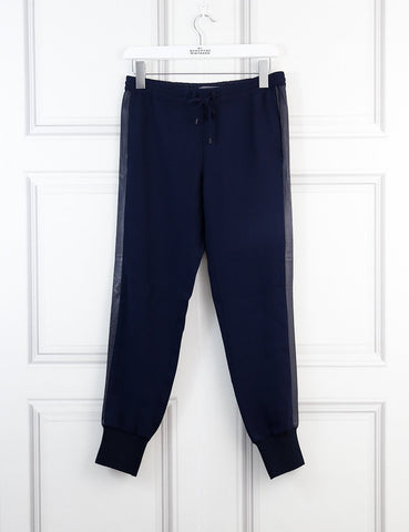 Vince blue elastic belt trousers with contrast leather trims 4Uk