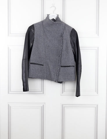 VINCE GREY JACKET WITH BLACK LEATHER SLEEVES 6UK- My Wardrobe Mistakes