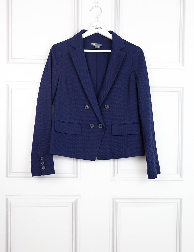 Vince blue double breast blazer 6UK- My Wardrobe Mistakes