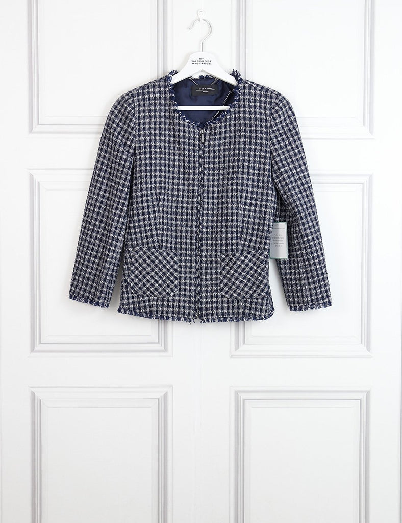 Weekend Max Mara multicolour collarless checked jacket with raw edges 10UK- My Wardrobe Mistakes