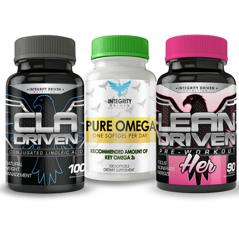 LEAN PERFORMANCE STACK HER (1 Lean-Driven-PINK, 1 CLA-Driven, 1 Pure Omega)