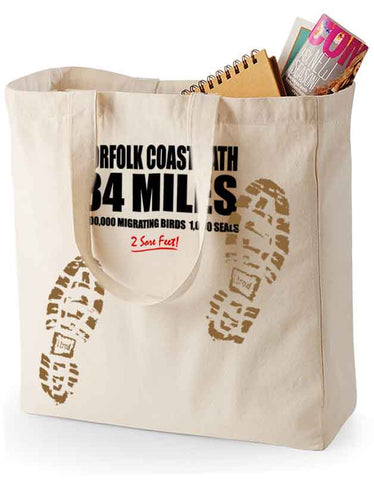 Norfolk Coast Path 'Sore Feet' canvas shopping bag