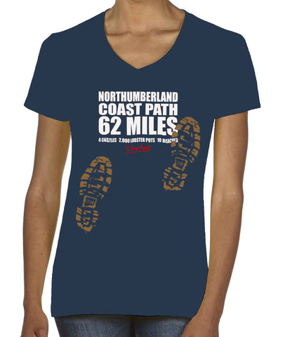 Northumberland Coast Path 'Sore Feet' women's v-neck t-shirt