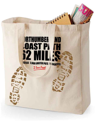 Northumberland Coast Path 'Sore Feet' canvas shopping bag
