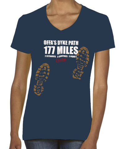 Offa's Dyke Path 'Sore Feet' women's v-neck t-shirt