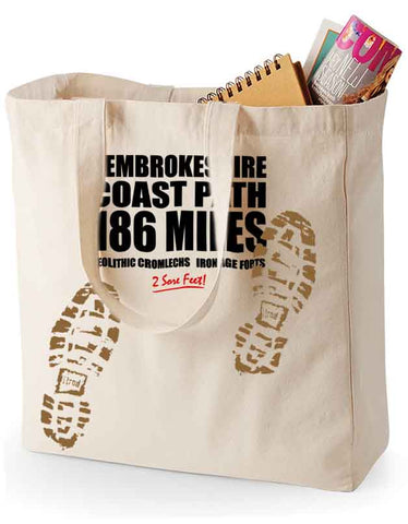 Pembrokeshire Coast Path 'Sore Feet' canvas shopping bag