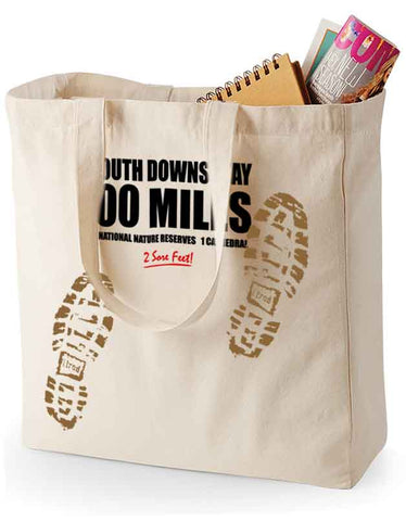 South Downs Way 'Sore Feet' canvas shopping bag