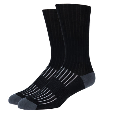 MEN'S SILVER RIBBED SOCKS | BLACK