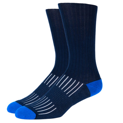 SILVER CREW DRESS SOCKS | NAVY WITH BLUE RIB