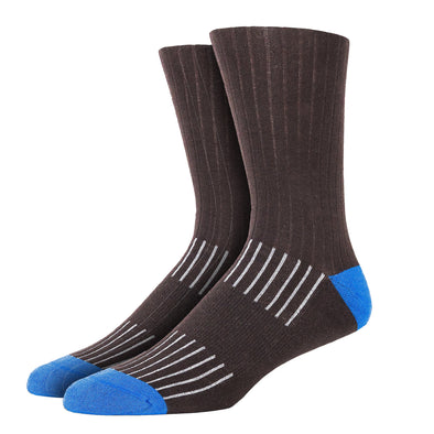 SILVER CREW DRESS SOCKS | BROWN WITH BLUE RIB
