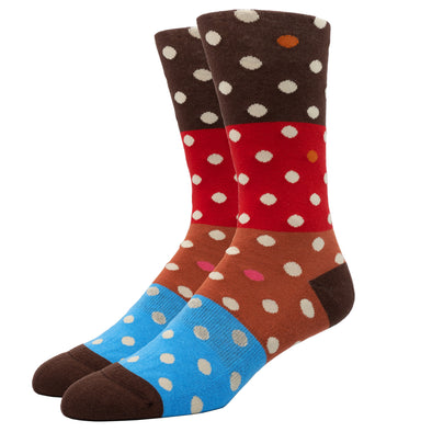 MEN'S SILVER CREW SOCKS | DOTTED STRIPE