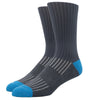 SILVER CREW DRESS SOCKS | GREY WITH TURQ. RIB
