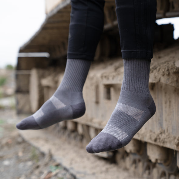 MEN'S SILVER CREW WORK SOCKS | GREY