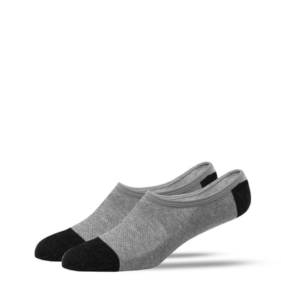 SILVER NO SHOW SOCKS | GREY WITH BLACK