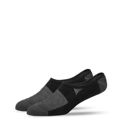 SILVER NO SHOW SOCKS | BLACK WITH GREY