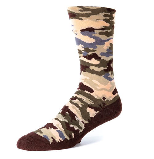Six Sox Brown Camouflage designed anti-odour silver men's socks