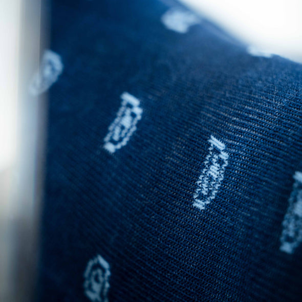 SILVER CREW DRESS SOCKS | PAISLEY BLUE