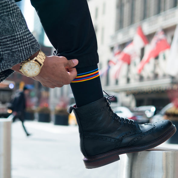 SILVER CREW DRESS SOCKS | BLACK CANDY