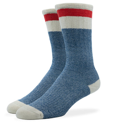 MEN'S SILVER BOOT SOCKS | BLUE RED