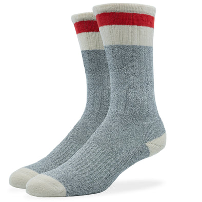 MEN'S SILVER BOOT SOCKS | GREY RED