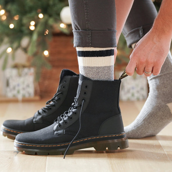 MEN'S SILVER CREW BOOT SOCKS | GREY BLACK