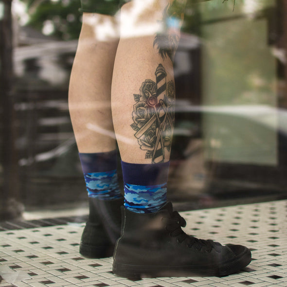 SILVER CREW DRESS SOCKS | BLUE CAMO