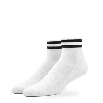 MEN'S SILVER RETRO-QUARTER SOCKS | WHITE