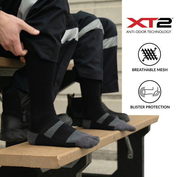 MEN'S SILVER CREW WORK SOCKS | BLACK WITH GREY